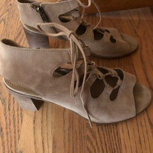 Steve Madden Tan Suede Gladiator Lace Heels Sz 11